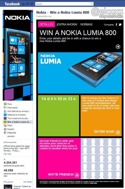 facebook concurso nokia lumia 800