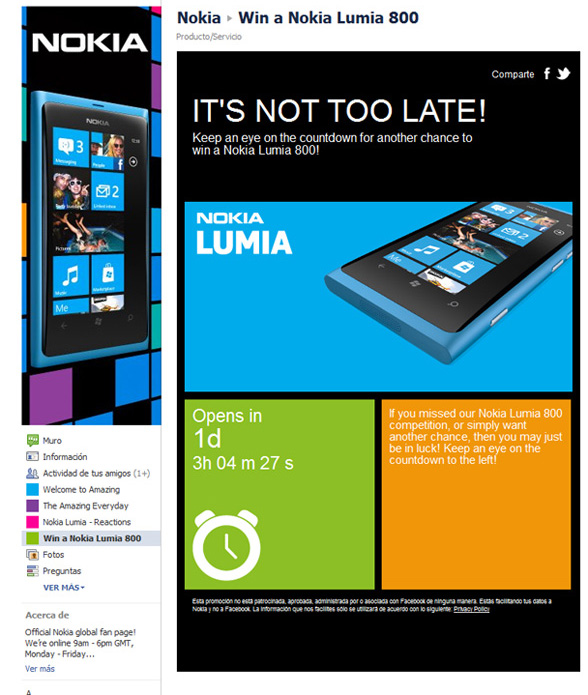 Nokia Lumia 800 facebook contest 2nd 2
