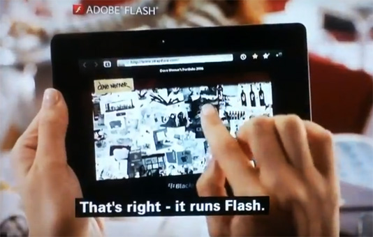 playbook adobe flash player on its own