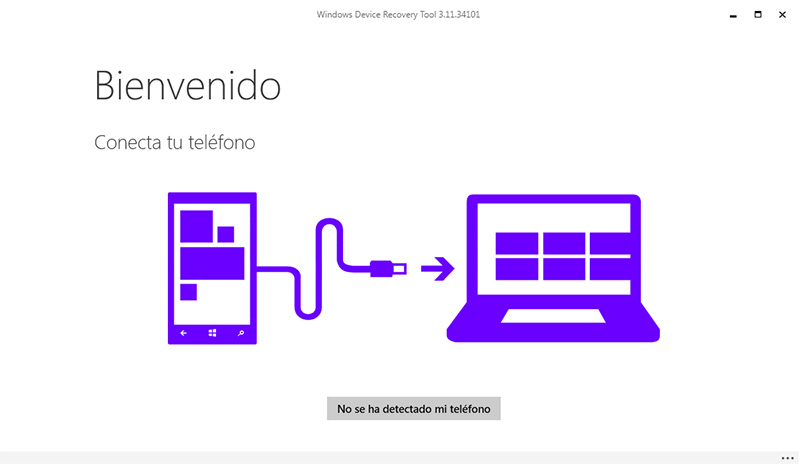 Pantalla principal del programa Windows Device Recovery Tool