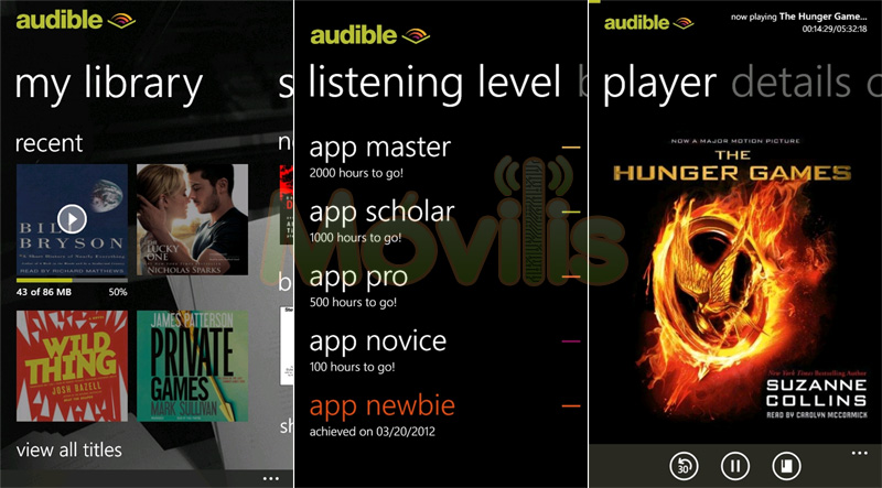Audible para Windows Phone audiolibros