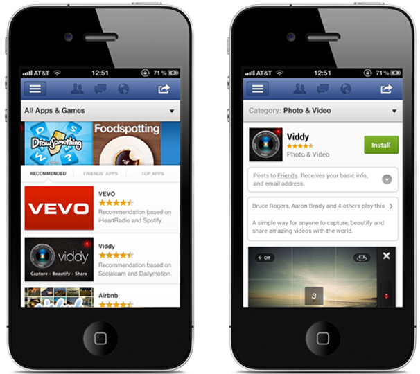 Facebook App Center móvil