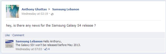 Galaxy SIV Facebook reply Samsung