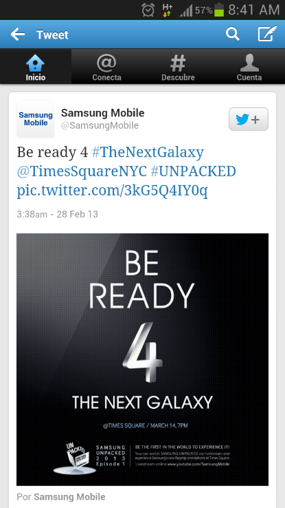 Samsung Galaxy S4 tweet event