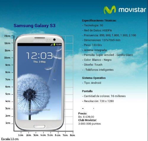 Samsung Galaxy S3 Movistar precio