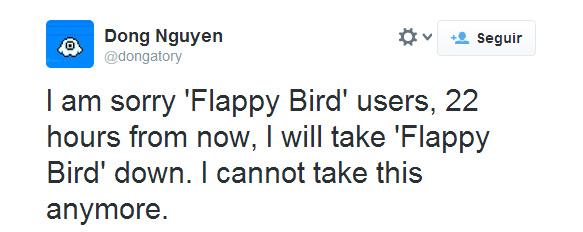 """Creador de Flappy Bird retira el juego para siempre, dice """"no poder soportar más la situación"""" tweet"""