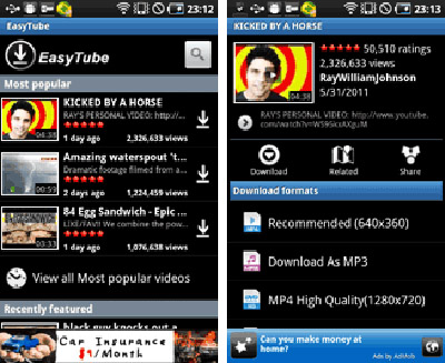 Descarga vídeos de YouTube en Android con EasyTube