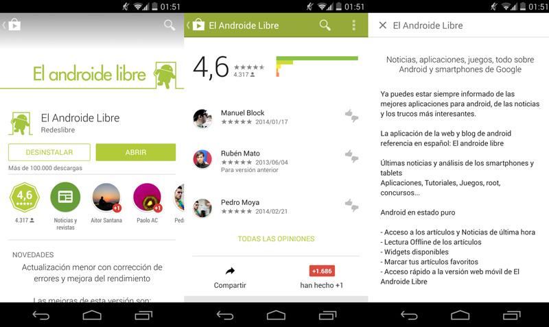 Descarga la nueva Google Play 4.9, con diseño Material Design