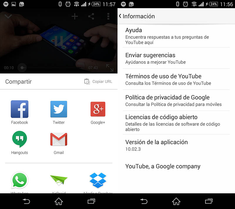 youtube 10 en Android